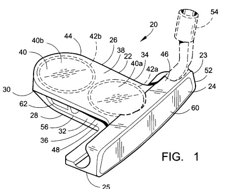 Putter head design drawing in context of patent cost discussion