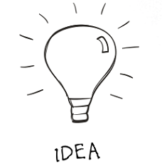 Light bulb image symbolic of initial patent idea
