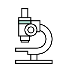 Microscope icon representative of research and analysis done in early phases of product design development