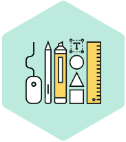 Architectural drawing tools icon representing product design services and consultancy