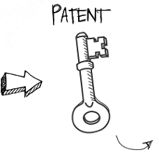 Key image symbolic of protecting idea through acquisition of patent