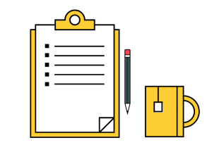 Checklist and pencil icon symbolic of process of determining how much is patent, how to apply, etc.