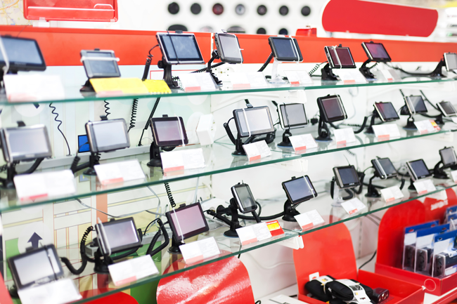 Selling GPS devices through a wall display